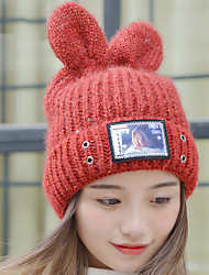 Women Winter Casual Curling Beauty Pattern Ear Wool Candy Colors Knitted Printed Woolen Hat