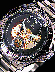 Men's Skeleton Watch Automatic self-winding Stainless Steel Band Silver Brand