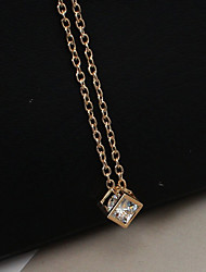 Women's Pendant Necklaces Rhinestone Simulated Diamond Alloy Square Fashion Gold Silver Jewelry Casual 1pc