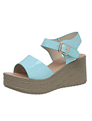 Heels Summer Club Shoes Leatherette Outdoor Party & Evening Dress Wedge Heel Buckle Black White Light Blue Walking