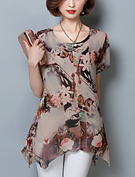 Women's Plus Size Slim Ruffle Summer Blouse Print Round Neck Short Sleeve Thin