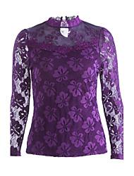 Женский Большие размеры Все сезоны Рубашка Круглый вырез,Уличный стиль Однотонный Розовый Красный Белый Черный Фиолетовый Длинный рукав,