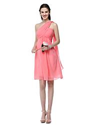 2017 Lanting Bride® Knee-length Chiffon Elegant Bridesmaid Dress - A-line One Shoulder with Pleats