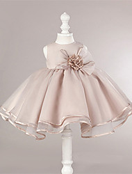 Ball Gown Short / Mini Flower Girl Dress - Organza Satin Jewel with Flower(s)
