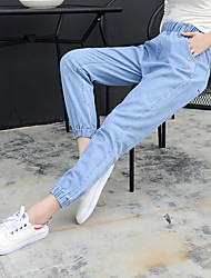 2017 spring Korean version of elastic and gird feet wide Song Halun nine points jeans