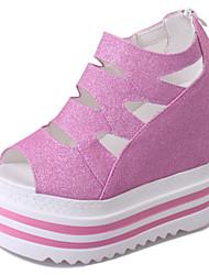Damen-Sandalen-Büro Kleid Lässig-PU-Keilabsatz-Club-Schuhe-Schwarz Rosa Silber