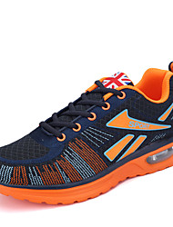 Men's Athletic Shoes Spring Fall Comfort PU Outdoor Running Low Heel Lace-up Orange Gray Blue