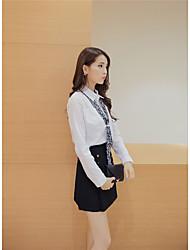 определить реальный выстрел новой моды костюм был тонкий рубашку с длинными рукавами с шарфом + двубортный-Line юбка бюст