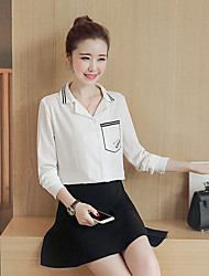 Spot really making 2017 spring new Korean long-sleeved shirt lapel thin wild female straight