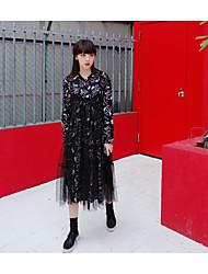 Feminino Vestido Manga Longa Azul Raiom Micro-Elástica