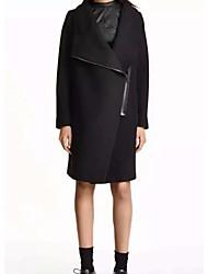 Manteau Femme,Couleur Pleine Sortie simple Manche Longues Revers Cranté Repasser à l'envers Coton Long Printemps