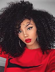 150% de la densité des cheveux crépus vierges humains brésiliens bouclés perruques avant de lacet sans colle partie latérale 8-26inch