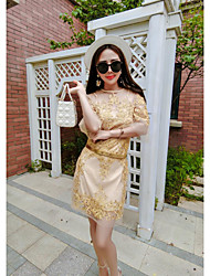 Sign 2017 new fashion temperament Heavy embroidery lace hot drilling dress ladies dress