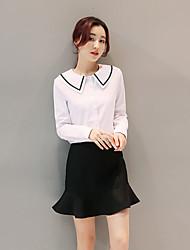 2017 Frühjahr neue schlanke langärmeligen T-Shirt + Schließen Taschen Hüfte fishtail Rock Anzug