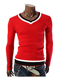 Men's Casual Fashion Long-Sleeved T-Shirt / Black / White / Red