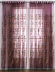 Two Panels Curtain Neoclassical Bedroom Polyester Material Sheer Curtains Shades Home Decoration For Window