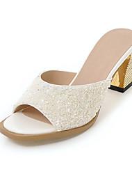 Women's Sandals Spring Summer Fall Comfort Glitter Customized Materials Party & Evening Dress Casual Chunky Heel Sequin Sparkling Glitter