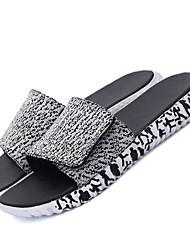 Men's Sandals Spring Summer Fall Comfort Canvas Outdoor Casual Flat Heel Low Heel Magic Tape Black Gray