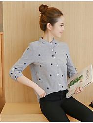 unterzeichnen Frühjahr 2017 Frauen&# 39; s neue lose dünne Kragen-Shirt bestickt Langarmhemd ol