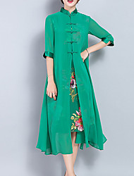 Women's Plus Size Going out Vintage Loose Swing Dress,Solid Split Stand Midi ½ Length Sleeve Silk Polyester Green Spring Summer Mid Rise