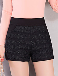 Women's Plus Size Slim Shorts Pants,Casual/Daily Work Sexy Cute Striped Lace Jacquard High Rise Zipper Cotton Micro-elastic Summer