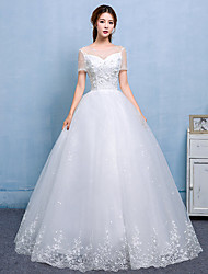 Ball Gown Wedding Dress - Chic & Modern Lacy Look Floor-length Scoop Lace Satin Tulle with Lace