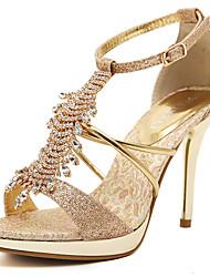 Femme Sandales Marche Confort Bride de Cheville club de Chaussures Polyuréthane Eté Mariage Habillé Soirée & Evénement Strass Boucle Gland