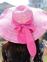 Women Bohemia Summer Foldable Bow wide-brim Grass weave Linen Sun Straw Hat