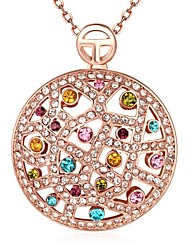 Women's Pendant Necklaces Chain Necklaces Crystal AAA Cubic Zirconia Crystal Zircon Rose Gold Plated Simulated Diamond Alloy RoundBasic