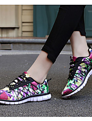 Women's Athletic Shoes Spring Summer Fall Comfort Fleece Outdoor Athletic Casual Low Heel Lace-up Yellow Multi-color Walking