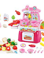 Aparelhos para cozinhar alimentos para crianças Modelo e Blocos de Construção Brinquedos Iluminação de LED Som Brinquedos ABS RosaPara