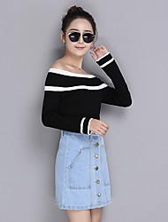 знак тонкий воротник свитер новый корейский хеджирование с длинными рукавами свитер диких тонкий дна рубашки прилива