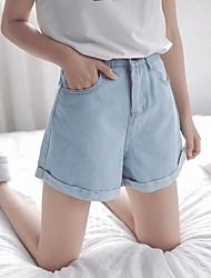 Hole loose denim shorts female summer Korean student was thin curling hot pants wide leg jeans
