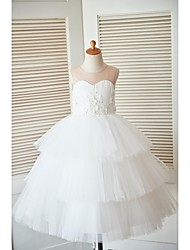 Princess Ankle-length Flower Girl Dress - Satin Tulle Sleeveless Scoop with Buttons Flower(s)