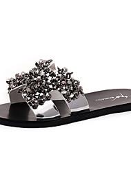 Sandals Summer Comfort PU Casual Flat Heel Rhinestone Black Silver