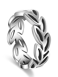 Ring Party Special Occasion Casual Jewelry Silver Plated Leaves Shape Ring 1pcAdjustable Silver