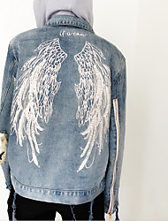 Women's Cut Out Zhou Yang Qing with Hooded let you fly with BF couple fastener holes in the wings embroidered jeans