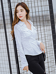 Sign new sexy V-neck long-sleeved shirt Slim wild temperament white shirt blouse OL career woman