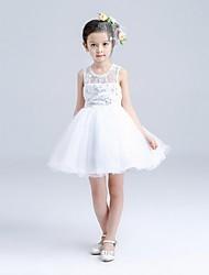 De Baile Curto/Mini Vestido para Meninas das Flores - Organza Decorado com Bijuteria com Detalhes em Cristal Bordado