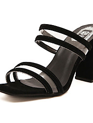 Sandals Summer Club Shoes Rubber Dress Chunky Heel Split Joint Black White