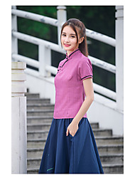 Sign 2017 summer new Miss Tang Zhuang Republic Literary wind retro cheongsam plate buttons Slim Tops