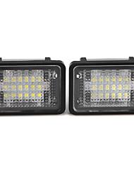 2 x branca 18 LED 3528 SMD licença lâmpada luzes placa para benz glk x204 350