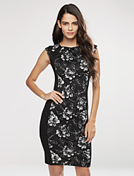 Women's Party Vintage / Simple / Street chic A Line / Bodycon Dress,Floral Round Neck Knee-length Sleeveless BlackCotton /