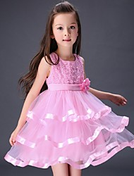 Ball Gown Knee-length Flower Girl Dress - Organza Sleeveless Jewel with Flower(s) Pearl Detailing
