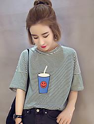 2017 printemps et en été nouveaux korean tasses sauvages en vrac pinstripe de couverture d'impression élève t-shirt droit