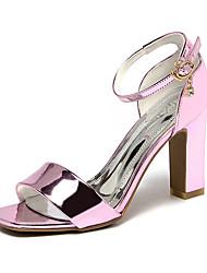 Розовый СеребристыйДля праздника-Полиуретан-На толстом каблуке-клуб Обувь-Сандалии