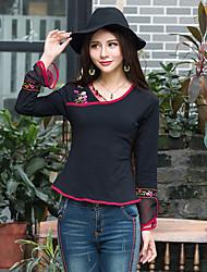 Tee-shirt Femme,Couleur Pleine Broderie Sortie Décontracté / Quotidien Vacances Vintage Bohème Chinoiserie Printemps AutomneManches