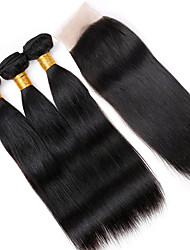 Vinsteenn 8A Best Quality Peruvian Silky Human Hair Natural Color Straight with 4*4 Lace Closure 3 Bundles Lot Double Weft Hair Weaves Can Be Dyed