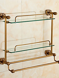 Horn Style Antique Solid Brass Bathroom Shelves Wall Mounted Double Layer Glass ShelfBathroom Accessory