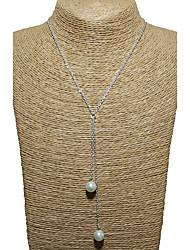Femme Pendentif de collier Perle imitée Chaîne unique Perle Imitation de perle Alliage Original Pendant Multivoies Porter Or Argent Bijoux